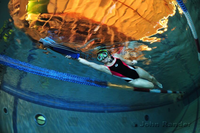 Underwater photo of swimmer taken with D300 and 10.5 fisheye lens